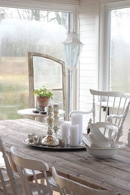 Farmhouse Cottage Style | Wood - Mercury Glass - Farm Table