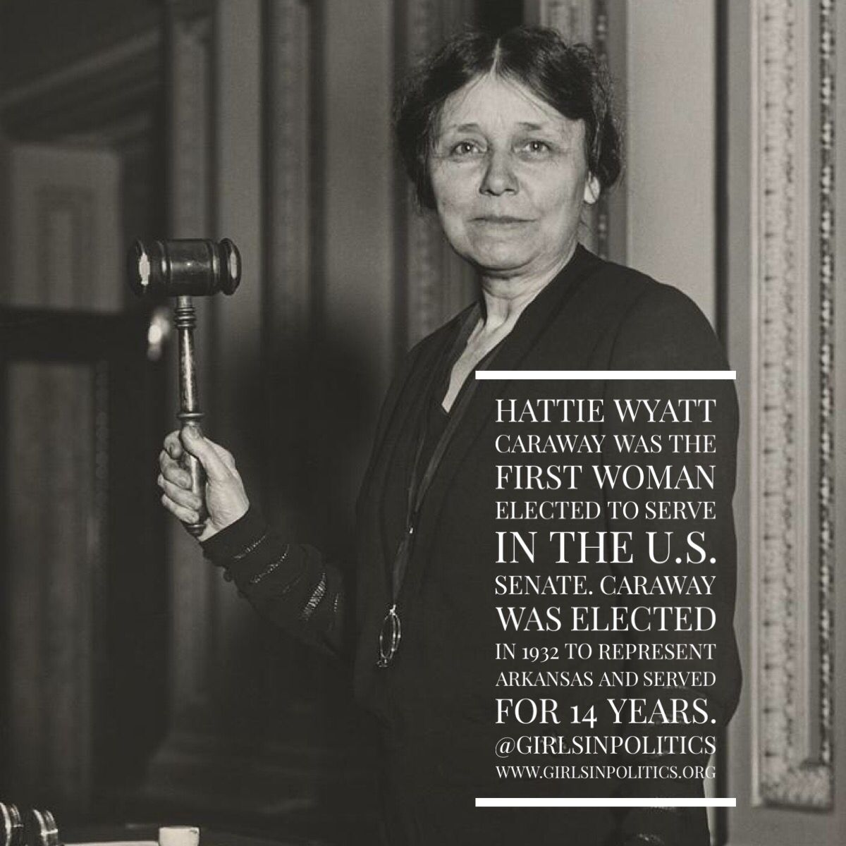 Hattie Wyatt Caraway was the first woman to be elected to serve in ...