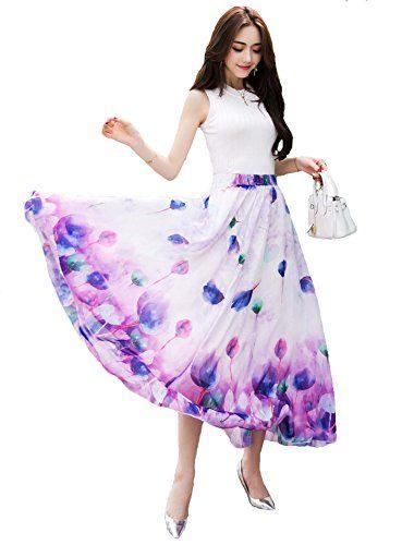 628d3fe0bb0bf Dreagal Womens Blending Chiffon Retro Long Maxi Skirt Vintage Dress Purple     Check this awesome