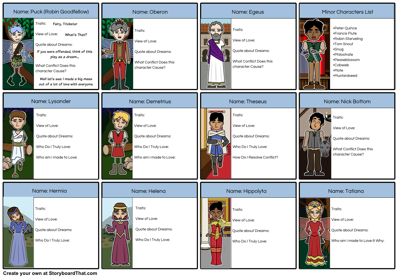a midsummer nights dream characters