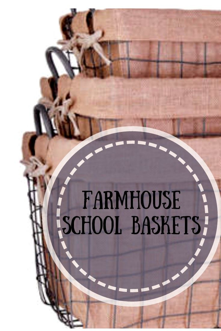 15 Bright Sunrooms That Take Every Advantage Of Natural Light: Farmhouse Metal School Baskets, Set Of 3 With Burlap Linings #affiliate #farmhousedecor