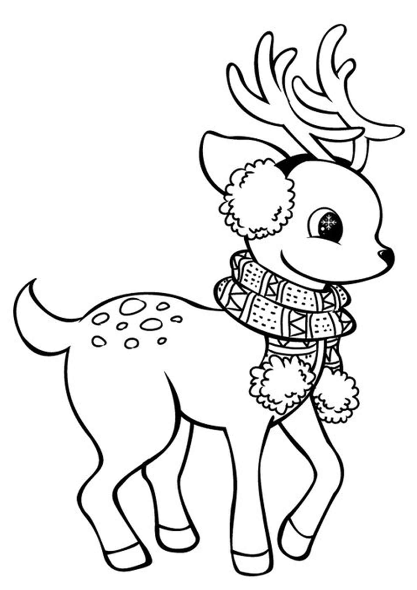 Free Printable Reindeer Coloring Pages  Christmas drawing, Deer