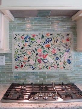 floral mosaic kitchen backsplash