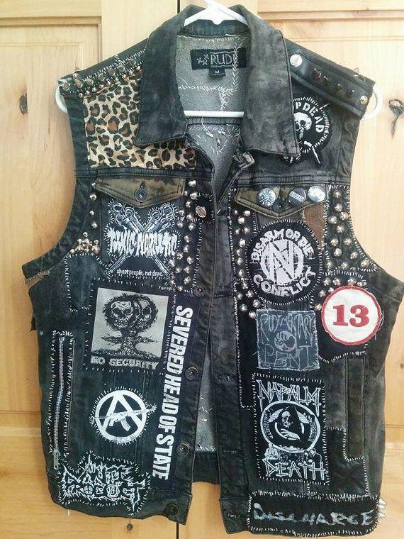 Punk Rock Vest Studded Denim Vest Crust Punk By