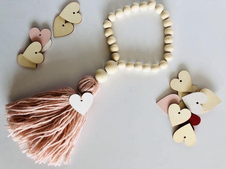 Valentine Wooden Bead Garland