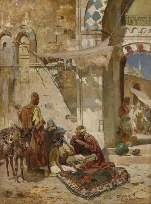 Ferencz Franz Eisenhut (1857-1903). The Healing through the Qu'ran, 1886. Oil on canvas, 59,1x43,8cm.