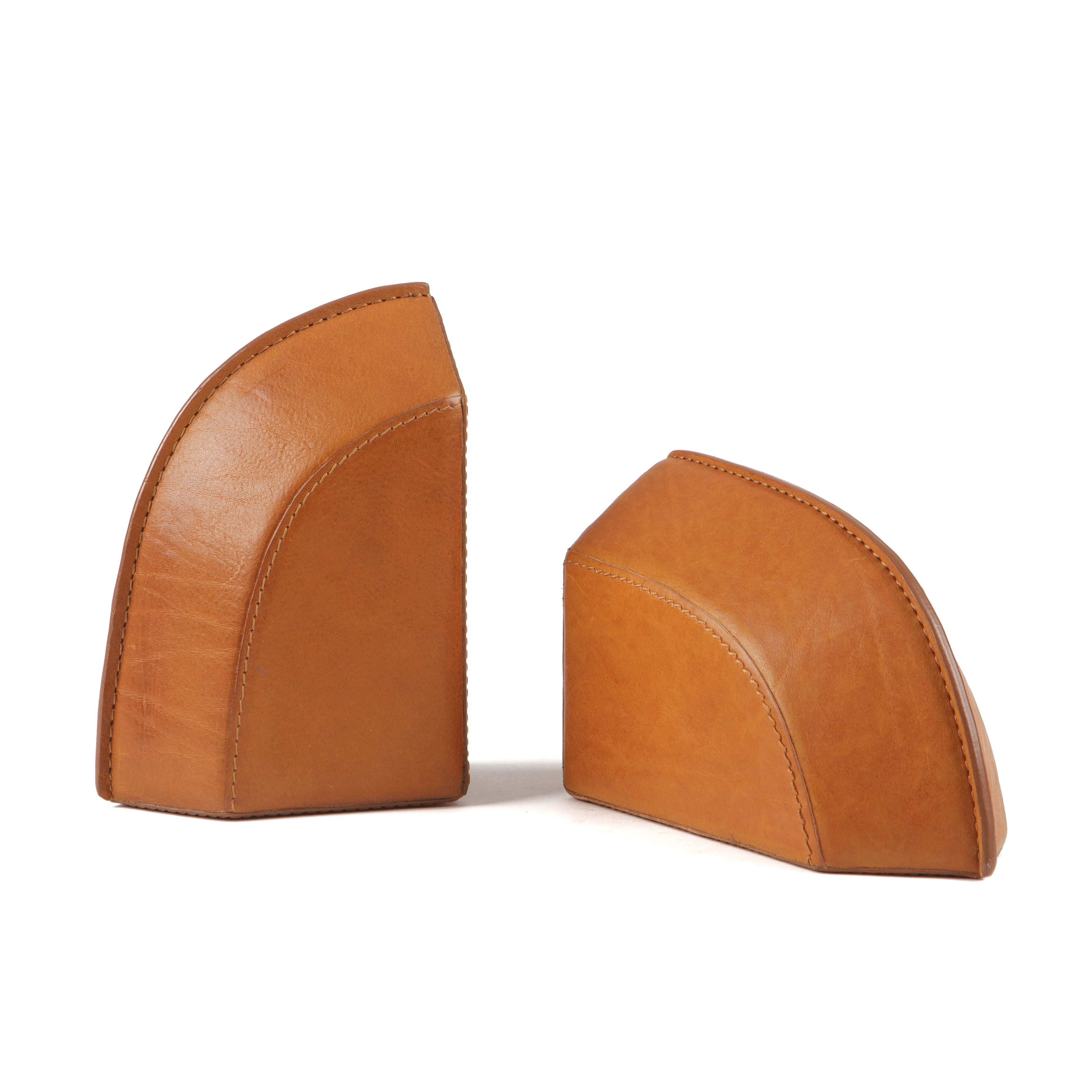 Leather Bookends Modern Saddle Leather Saddle Leather