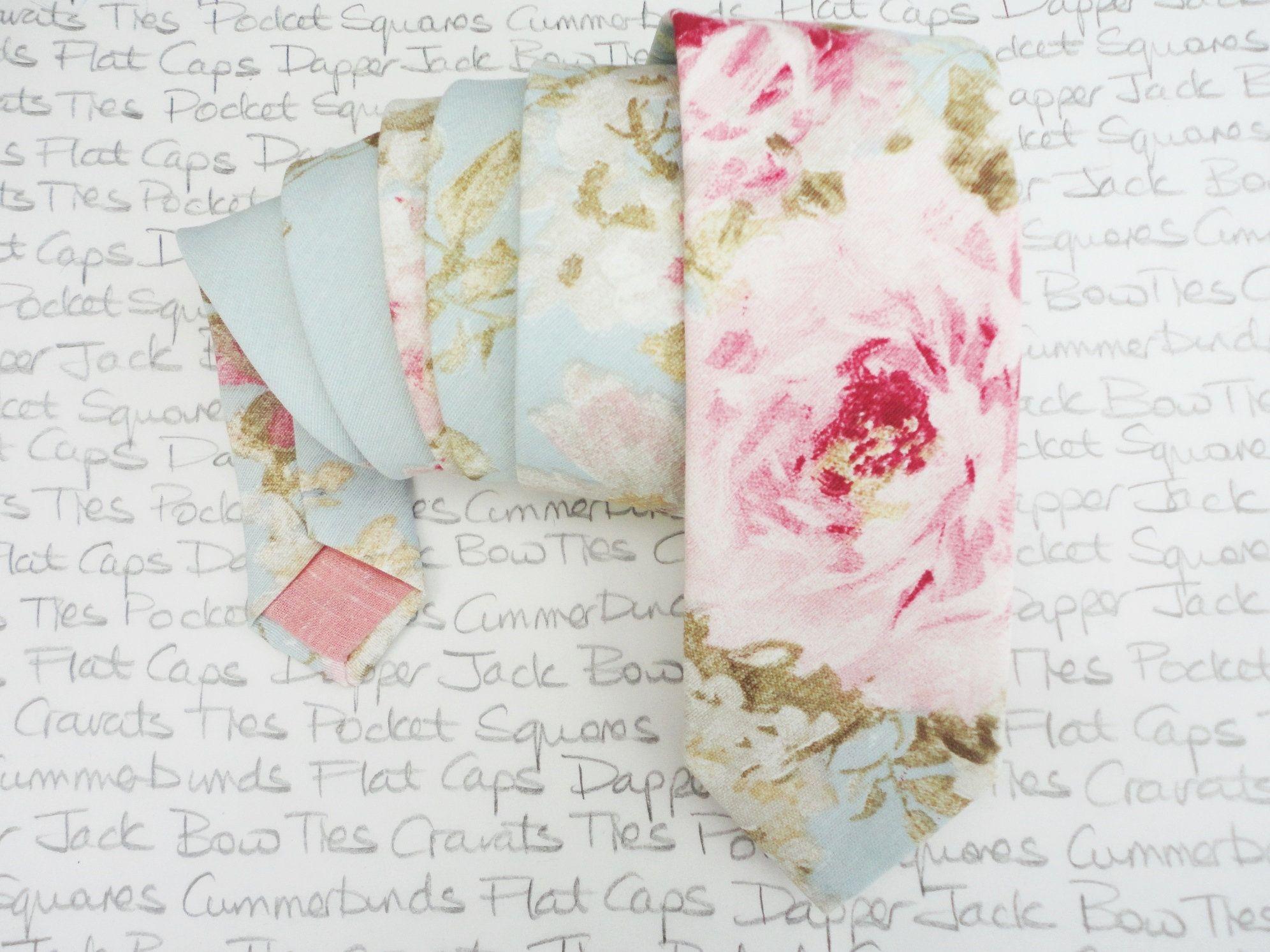 5c211d5de18f Floral wedding tie, blush pink roses on a pale aqua background, linen look  cotton.