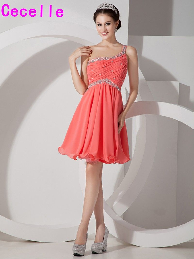 Cheap short a line coral prom cocktail dresses chiffon sexy open