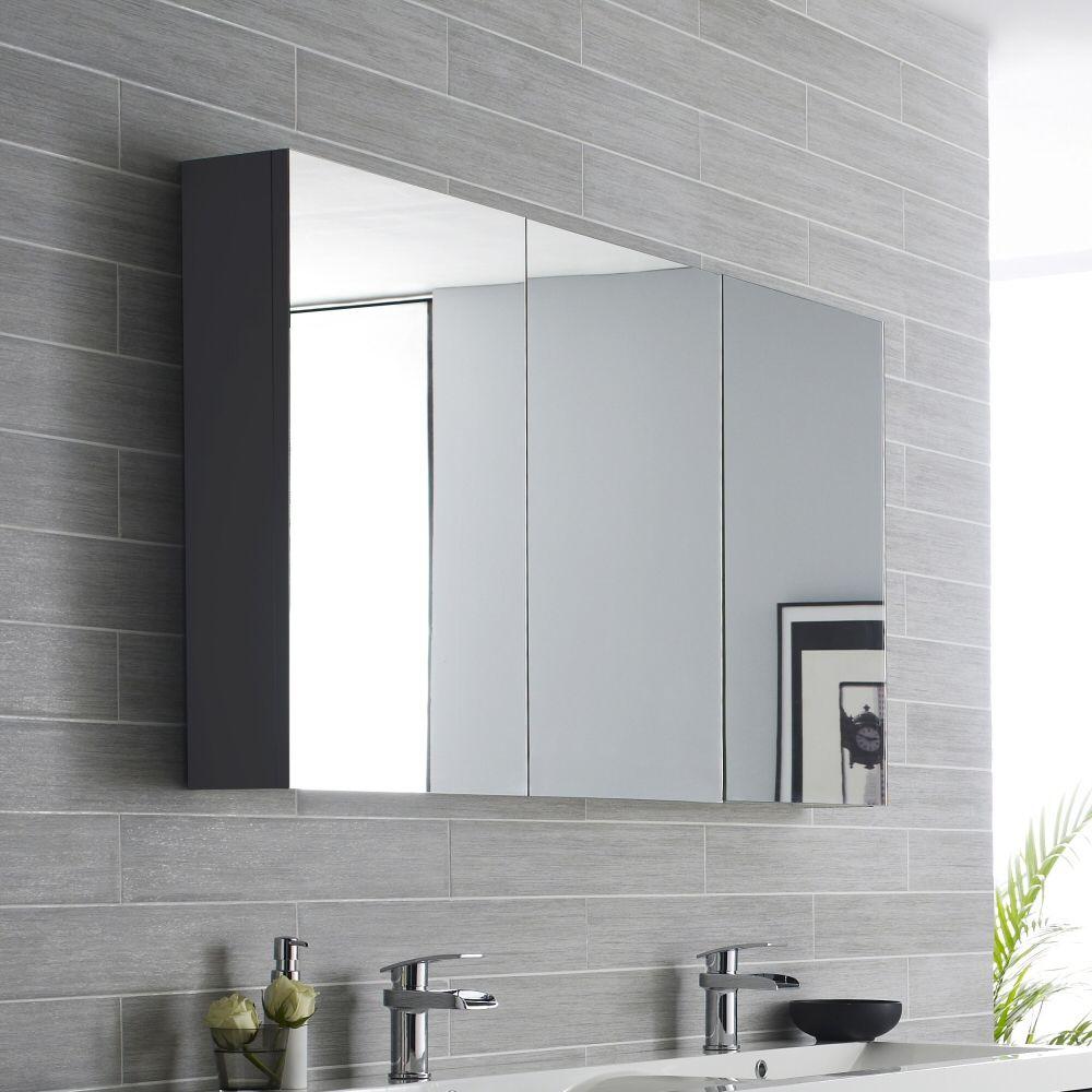 Hudson Reed Quartet 1350mm Mirror Cabinet High Gloss Grey Large Bathroom Mirrors Mirror Cabinets Shaving Cabinet [ 1000 x 1000 Pixel ]