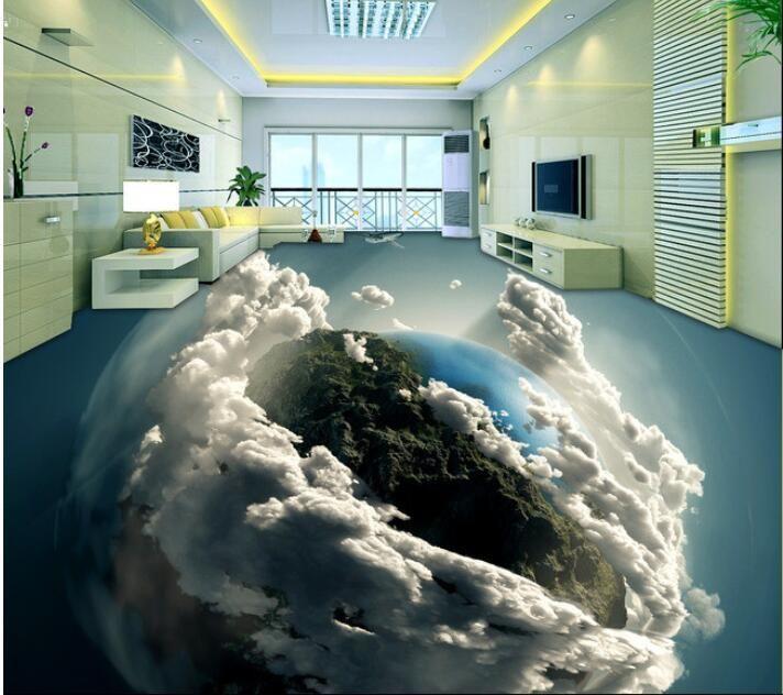 Barato 3 d piso pvc personalizado papel de parede 3d terra for Revestimento 3d sala de estar