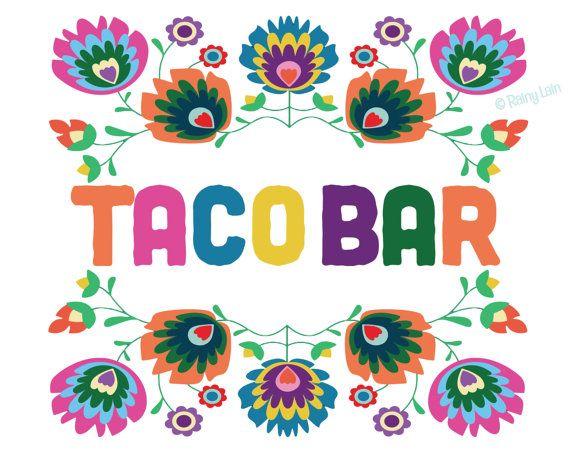 Taco Bar Sign, Printable Taco Bar Sign, Mexican Fiesta ...