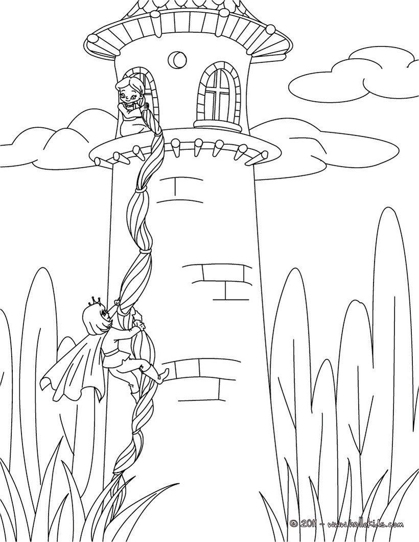 Ausmalbilder Kostenlos Disney Rapunzel : Grimm Fairy Tales Coloring Pages Rapunzel Grimm Tale Pasakos
