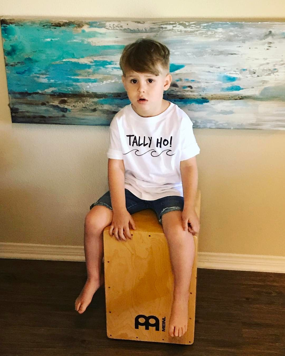 Caught him mid-drum in his Tally Ho! Shirt  #tallyho #surferboy #beachkid #surfmom #beachmom #beachfam #beachlife #coveandcapri Shop at http://CoveAndCapri.com