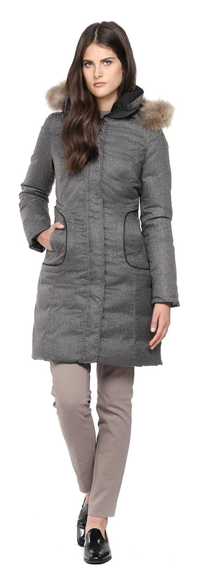 SOIA & KYO - ISOBEL-SP1 REVERSIBLE GREY WINTER DOWN COAT FOR WOMEN ...