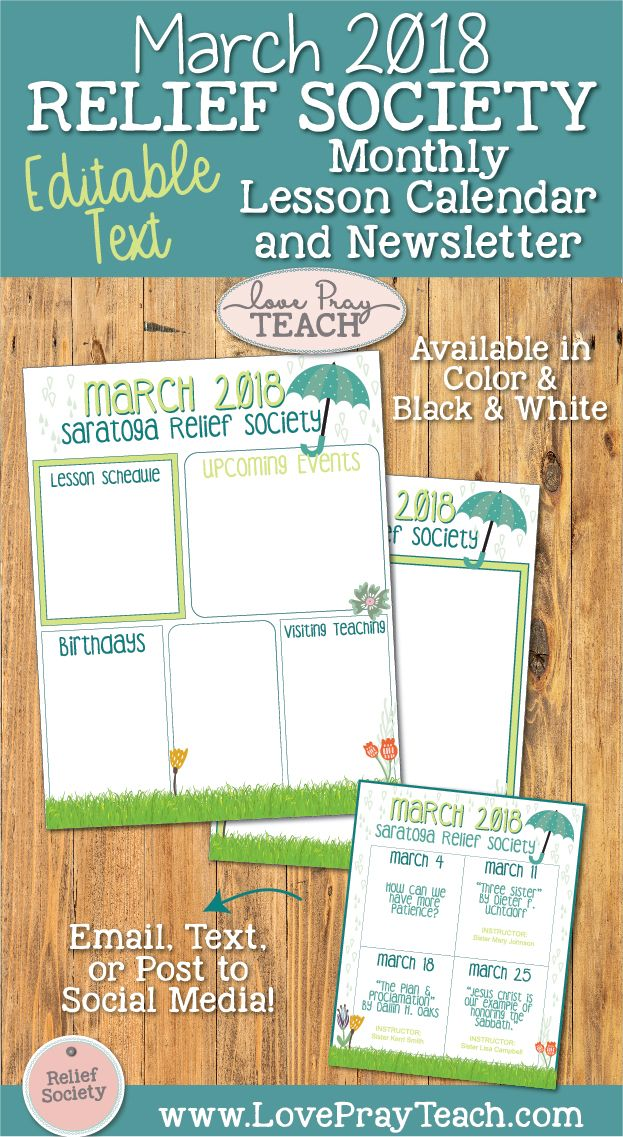 March 2018 Relief Society Newsletter and Lesson Schedule Calendar