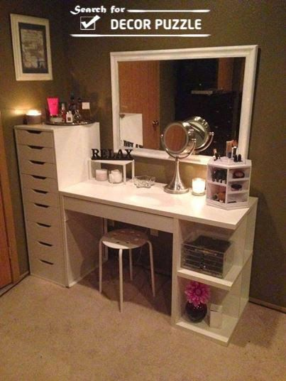White Modern Dressing Table Designs With Wooden Shelves And
