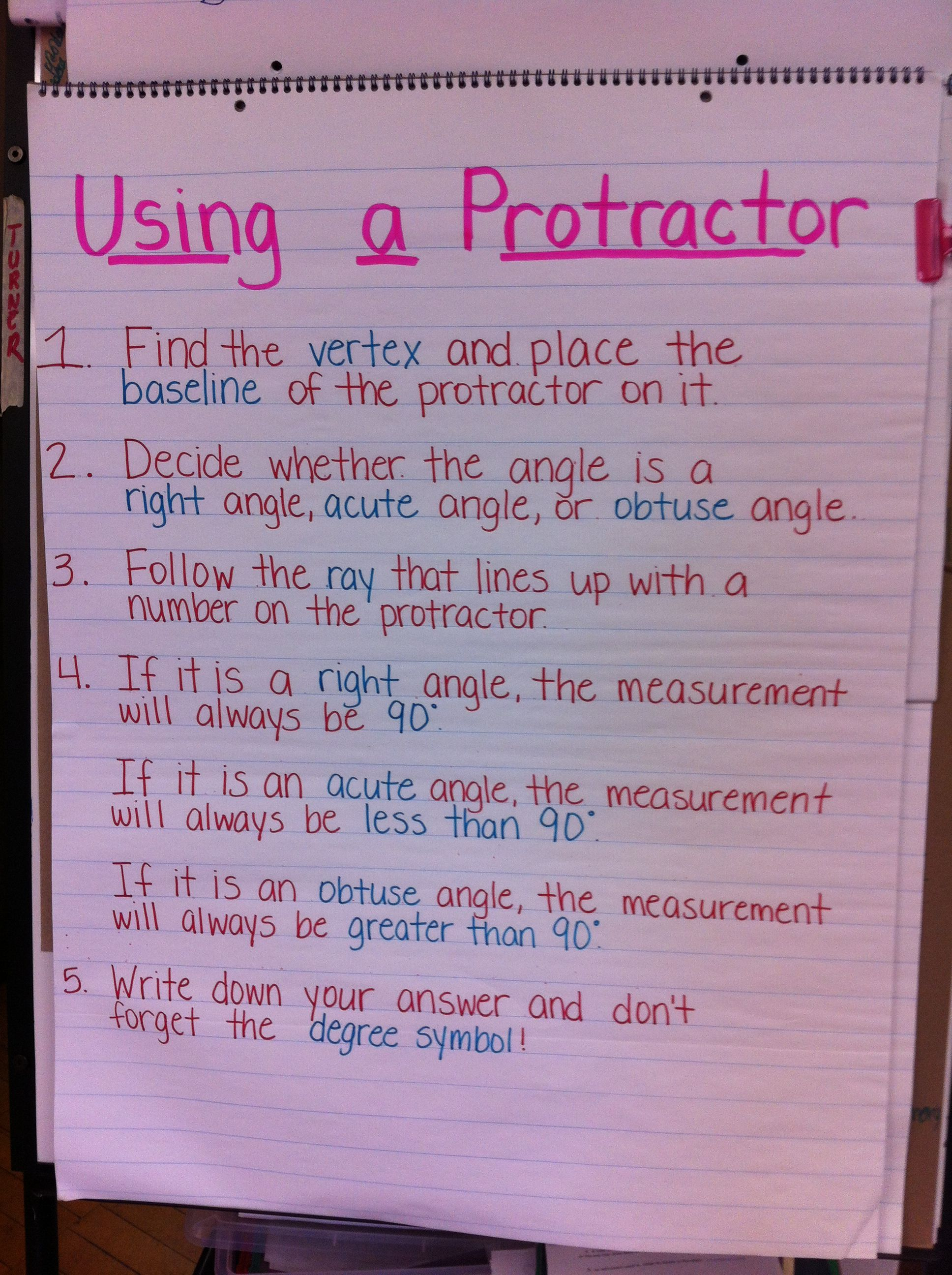 Steps On How To Use A Protractor Protractor Math Angles