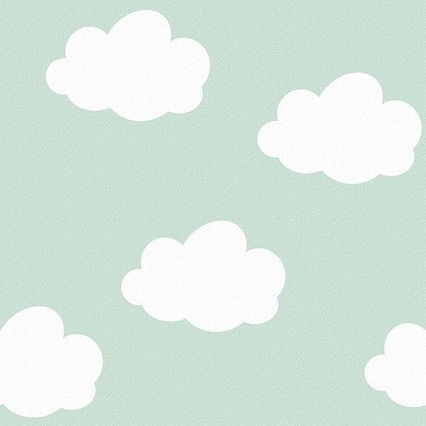 behang kinderkamer wolken mint van inke | hip kinderbehang van, Deco ideeën