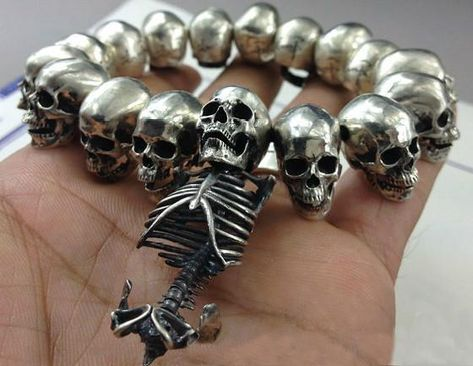 Handcrafted Silver Skull Skeleton Bracelet