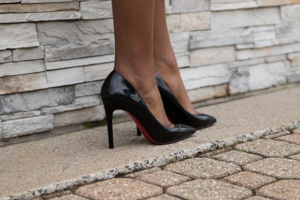 Black patent leather heels, Christian