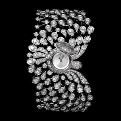 Cartier inspiração chinesa relógio secreto em ouro branco, um diamante de 2.89 quilates, brilhantes, olhos de safira, movimento a quartzo.