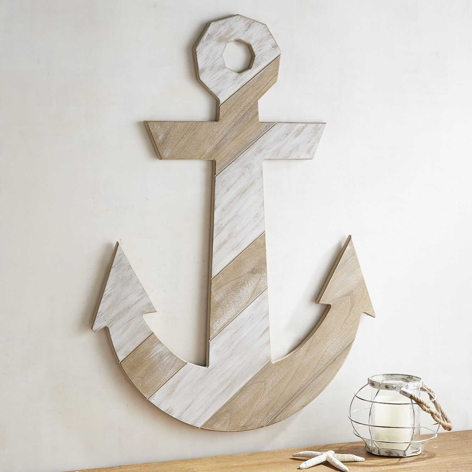 Rustic White Wood Planked Anchor Wall Decor Anchor Wall Decor Antique Wall Decor Wooden Decor