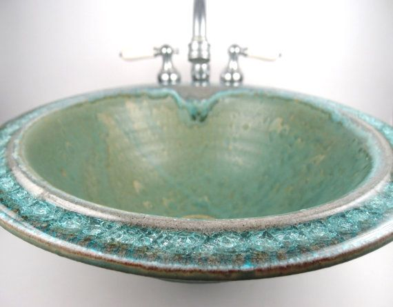 Sea Green Ceramic Sink With Fused Glass Custom Made To Order Ceramic Sink Glass Sink Green Ceramics