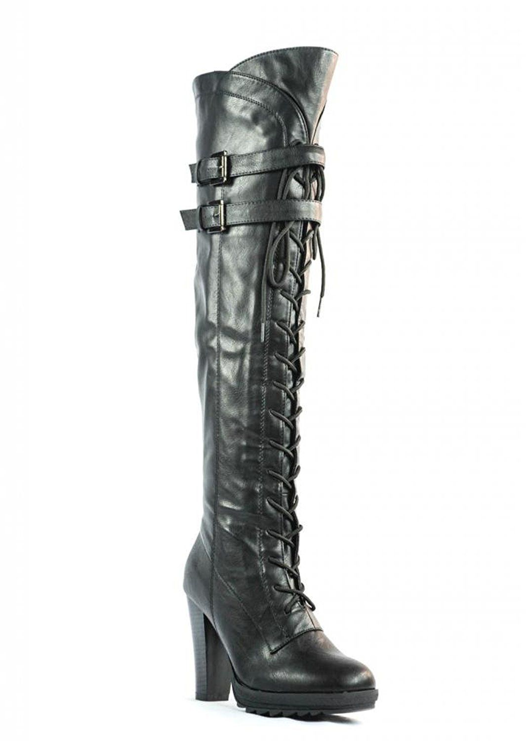 264e1aa7245 Dream Pairs Lacey Over Knee High Heel Lace up Zipper Closure combat Boots      Trust me