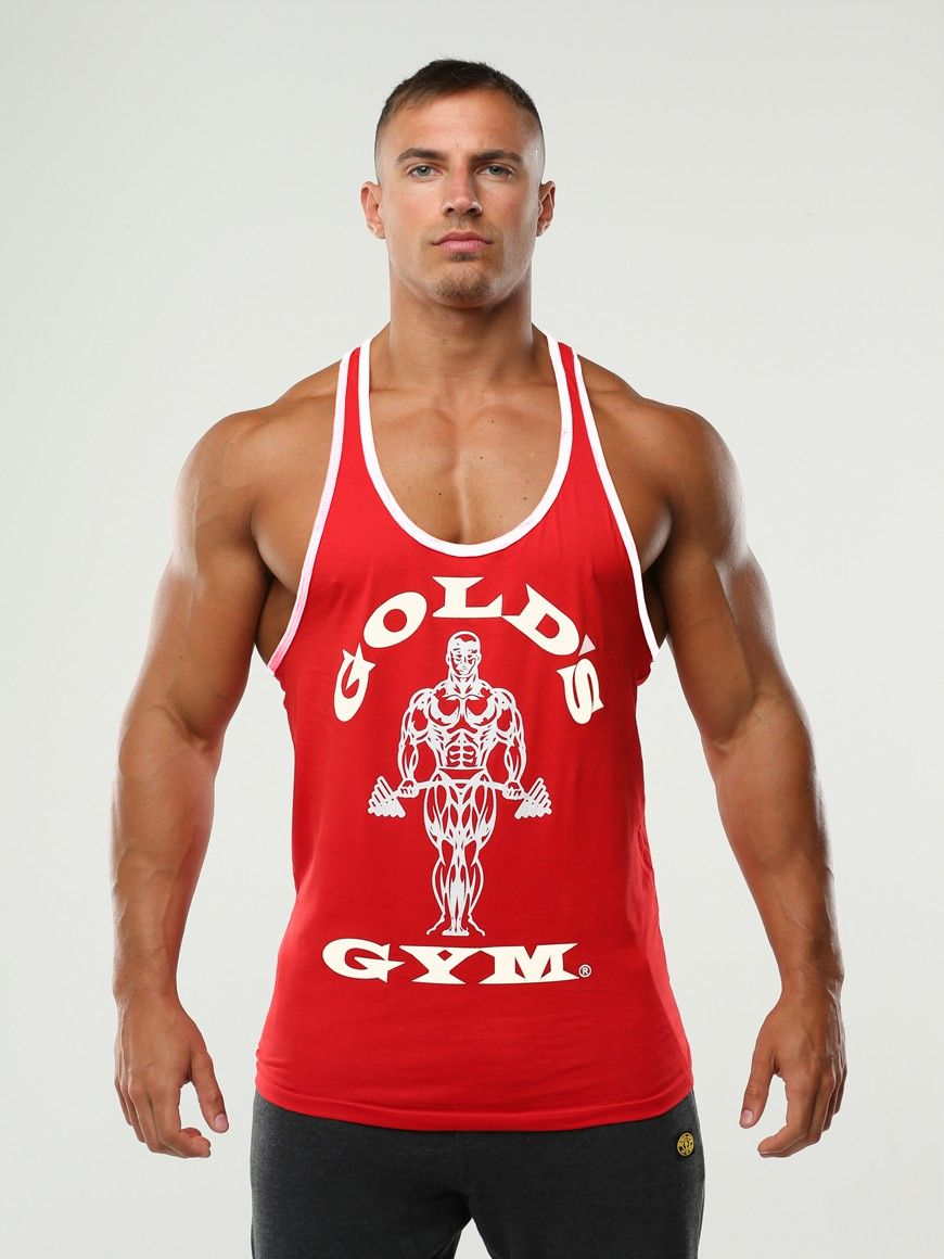 ccd21f8bf77738 golds gym contrast stringer red white Gym Men
