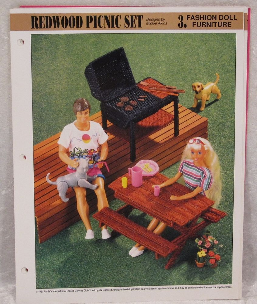 Picnic Time Table Grill fits Barbie Doll Plastic Canvas PATTERN//INSTRUCTIONS//NEW