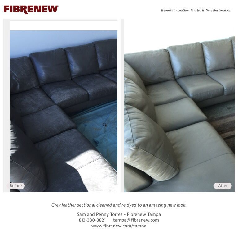 Leather Sectional Sofa Cleaning And Re Dye In Tampa