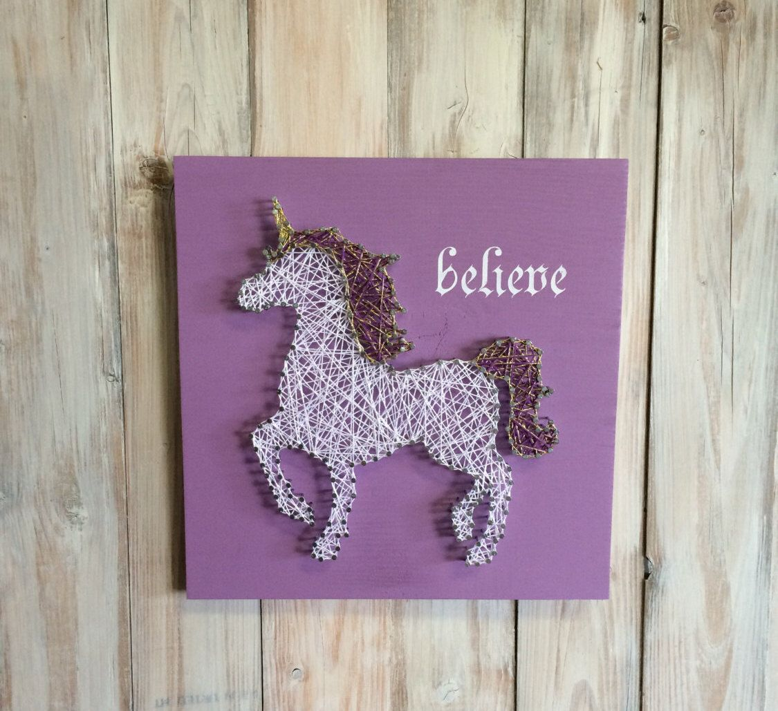 unicorn string art - unicorn decor - string art - unicorn sign