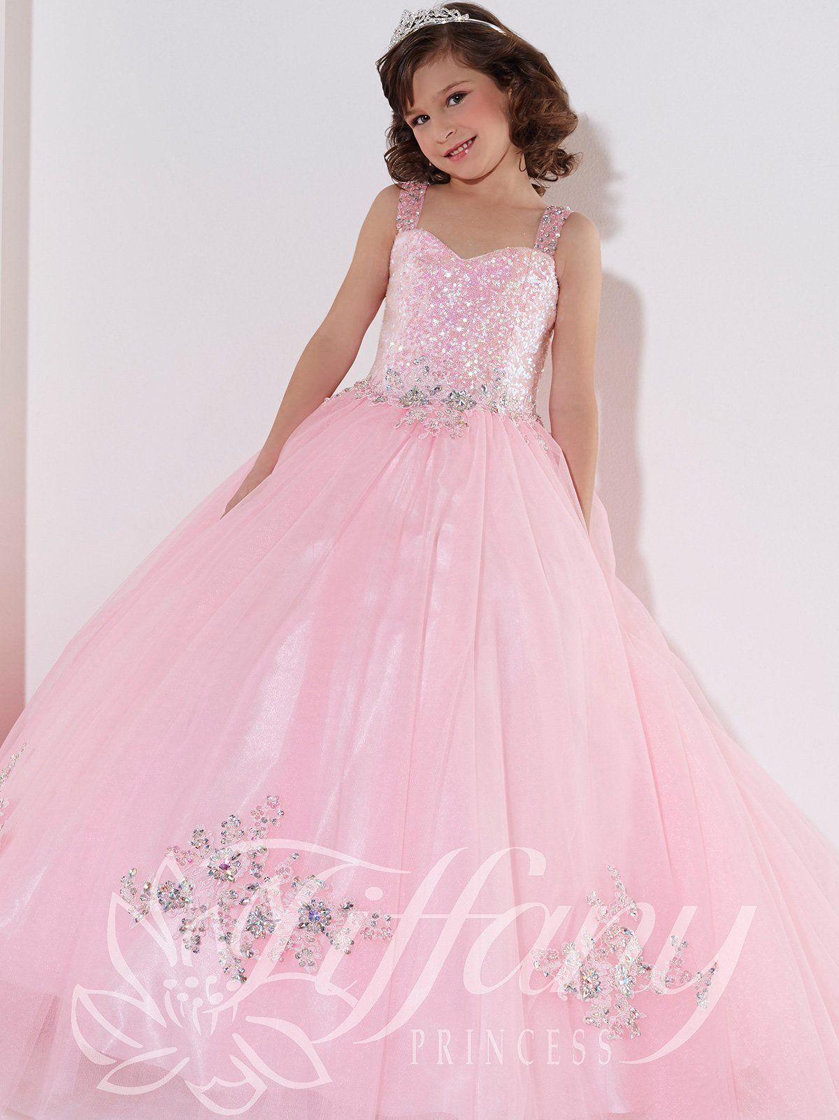 Girls Long Sequined Tulle Dress by Tiffany Princess 13395