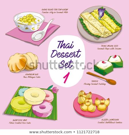 Vector Illustrations Of Colorful Thai Dessert Set Khanom Thai Thai Dessert Dessert Illustration Dessert Set