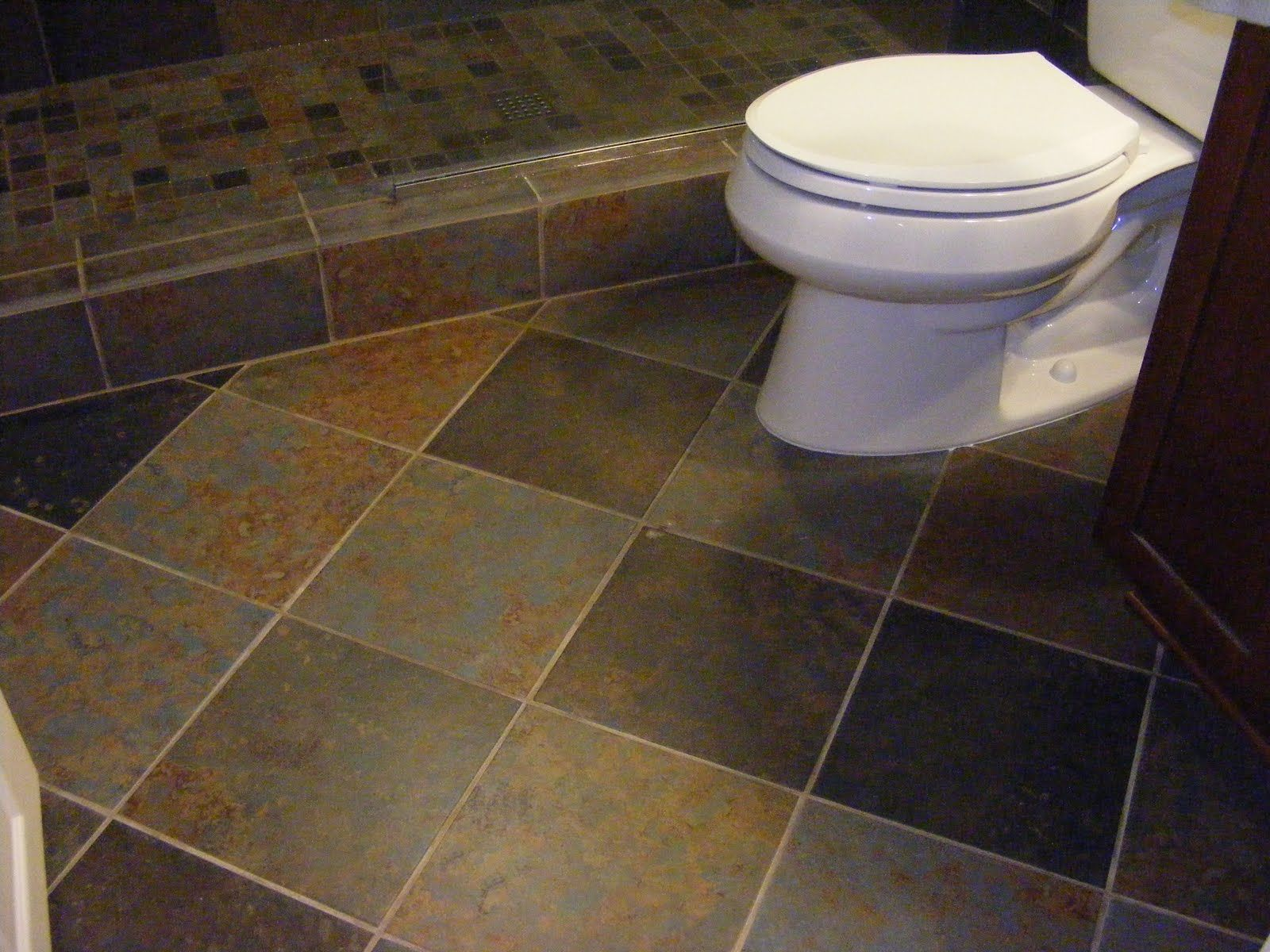 Retro inspired octagon and dot bathroom floor tile
