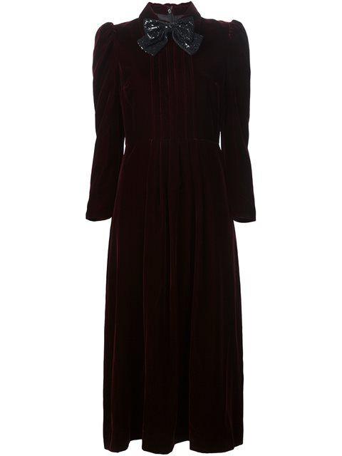 SAINT LAURENT Velvet Bow Front Dress. #saintlaurent #cloth #dress