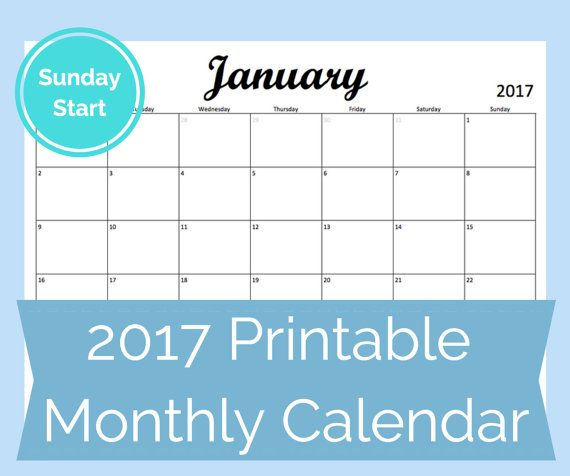 Printable monthly calendar template for August 2016-December 2017 - printable monthly calendar sample