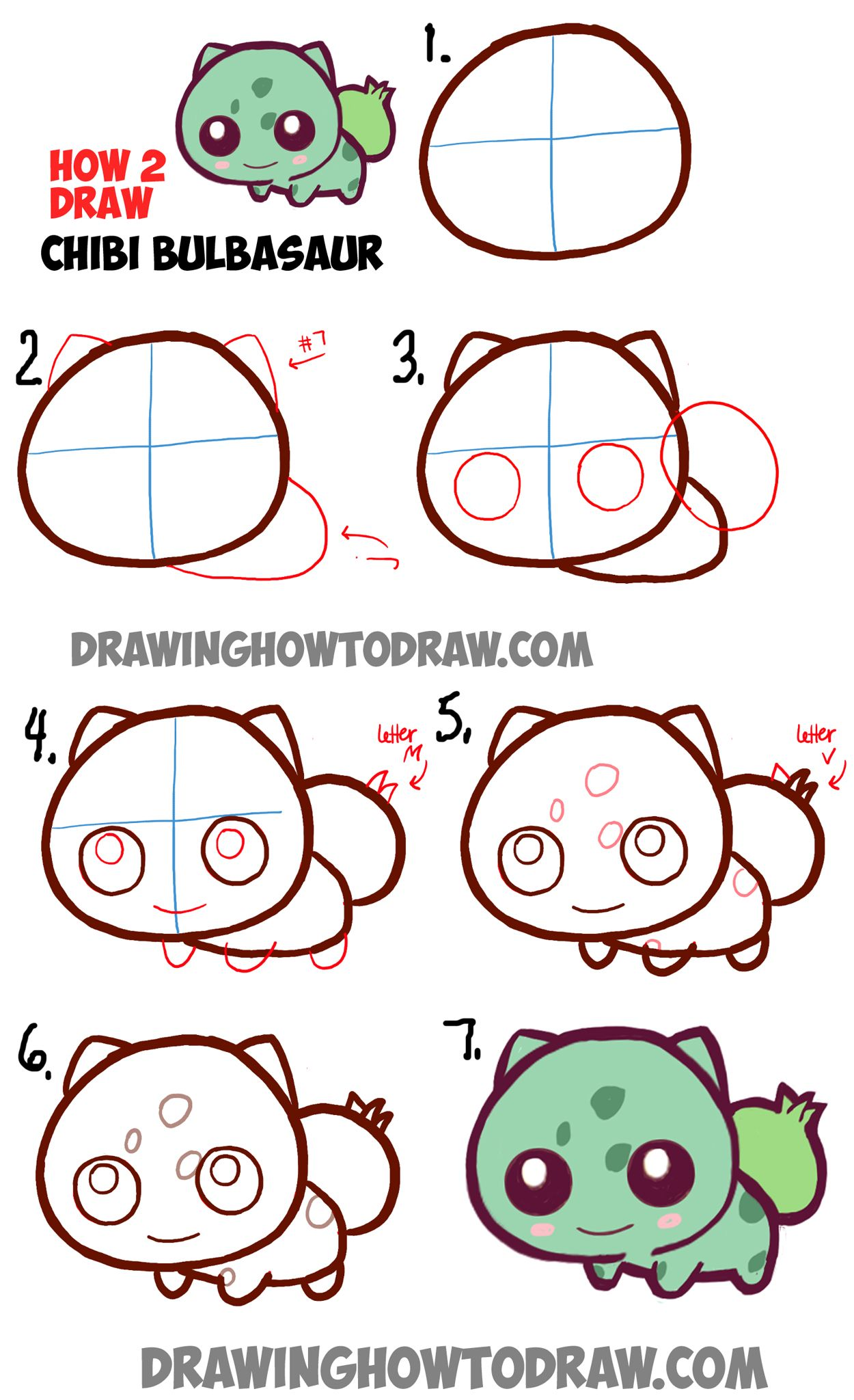 Learn how to draw cute baby chibi bulbasaur from pokemon for How to draw things step by step