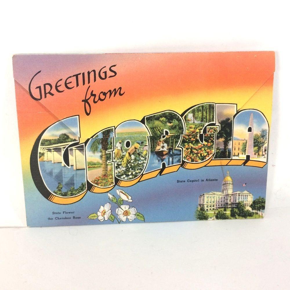 Postcard Souvenir Folder Of Historic Georgia Atlanta GA Tichnor  Foldout VTG
