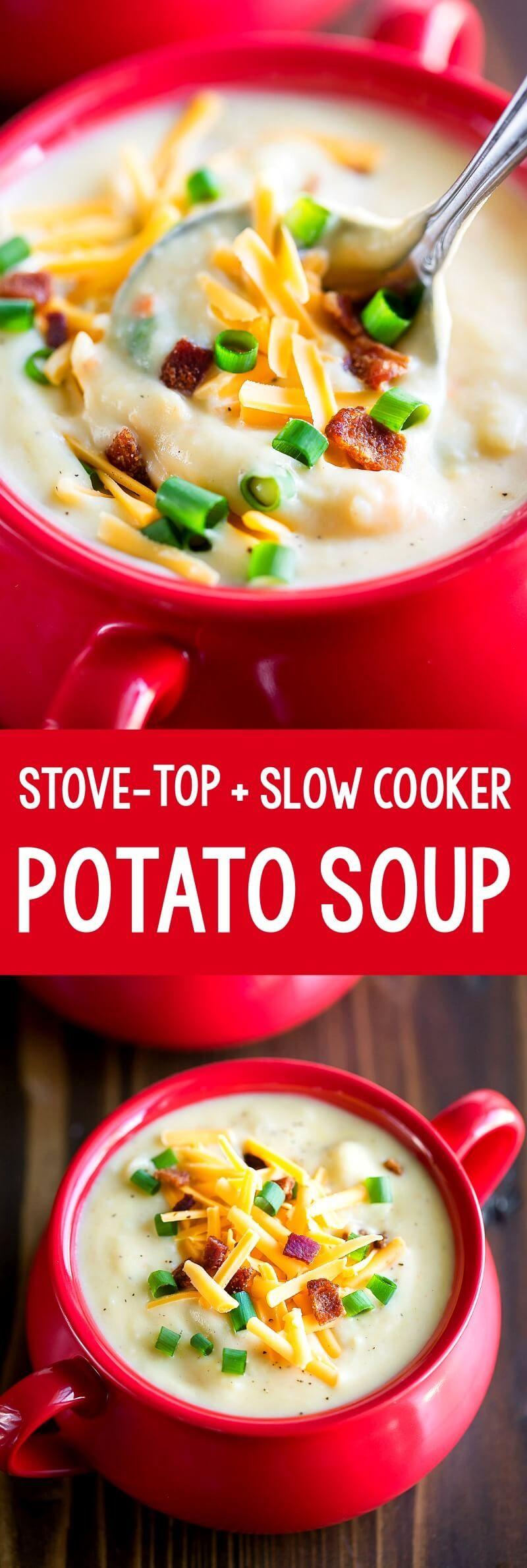 Creamy Potato Soup With Bacon And Cheddar Peas And Crayons Recipe Creamy Potato Soup Creamy Potato Potato Bacon Soup