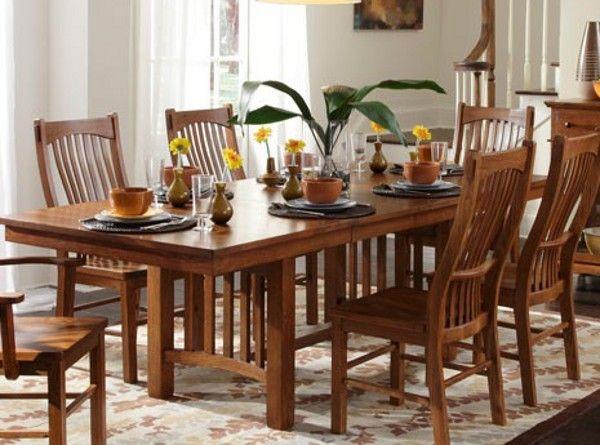A America Laurelhurst Trestle Dining Table In Mission Oak