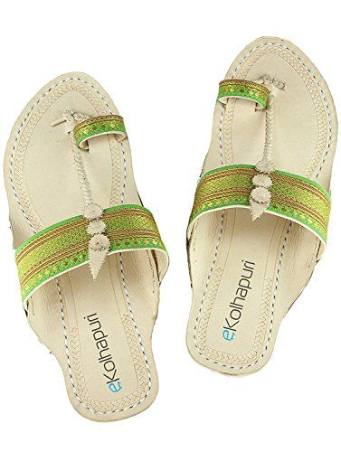 0502c23ff48a69 eKolhapuri Womens Leather Kolhapuri Chappals 10 US Green     To view  further for this item