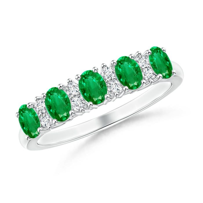 Angara Womens Emerald and Diamond Five Stone Ring in Platinum