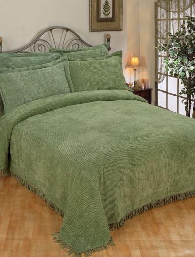 New Sage Green Cotton Chenille Queen Bedspread Set Ebay
