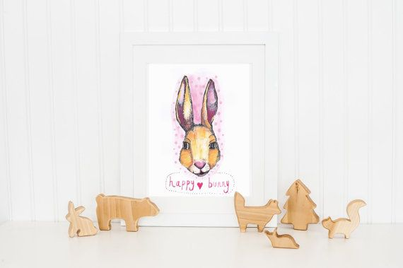 Rabbit Print ~ Nursery, Children's Cute Woodland Pink.