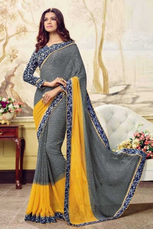 b48f8a06c66977 Buy party wear saree online for women. Grab this georgette patch border work  printed saree for festival and party.