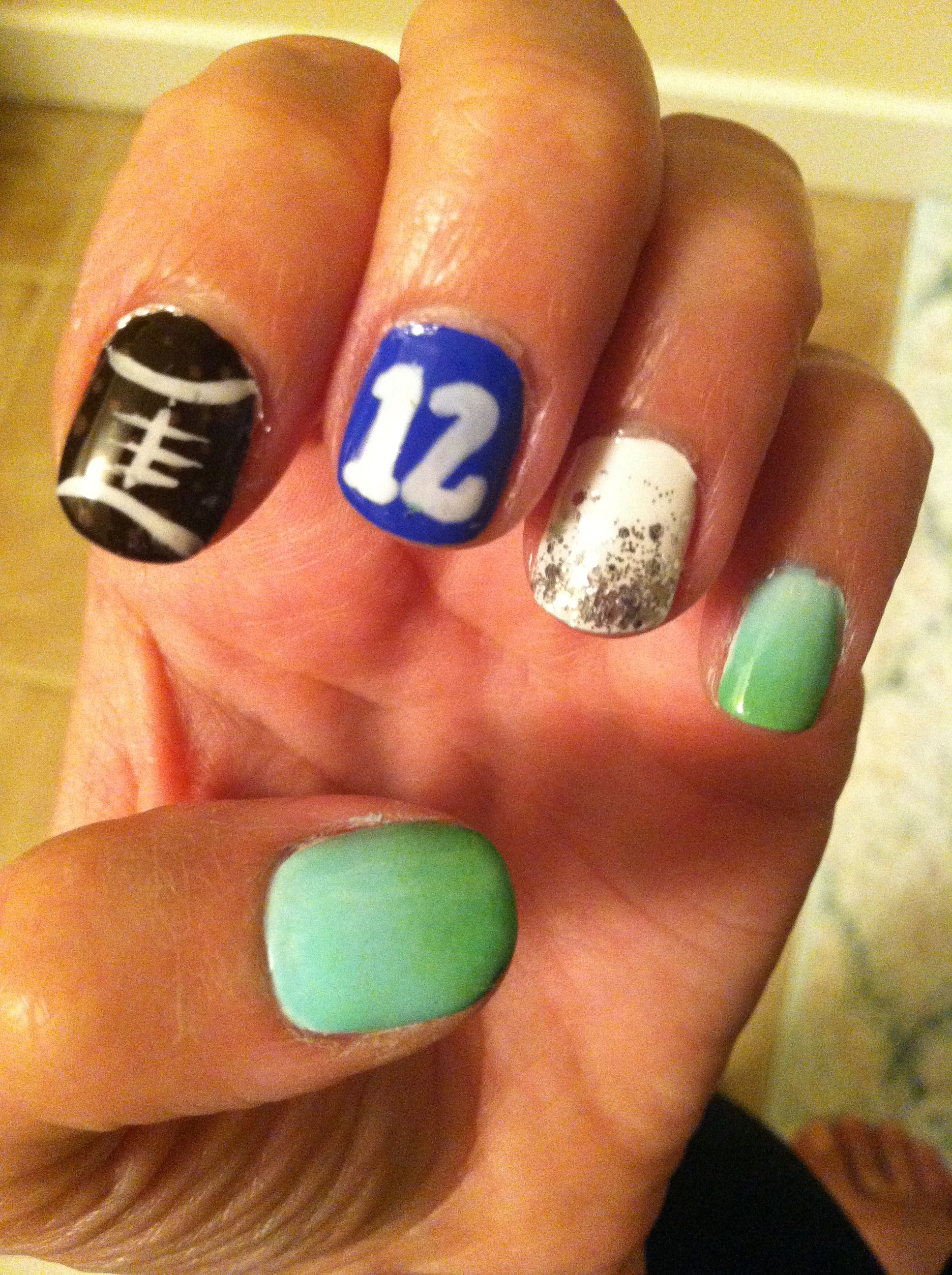 Seahawks 12th man nail art | Seattle Seahawks Funny | Pinterest ...