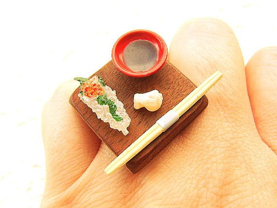 Sushi Ring Miniature Japanese Food Jewelry by SouZouCreations, $16.50 #etsy #jewelry #jewellery #shopping #etsy #handmade #food #gift #present #accessory #accessories #harajuku #tokyo #fashion