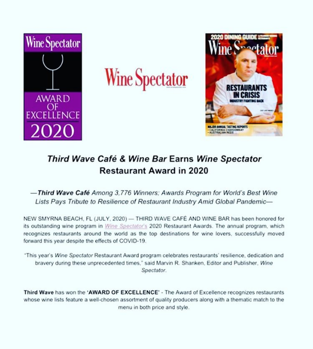 Major Shout Out To Third Wave Cafe Wine Bar For Receiving The Wine Spectator Award Of Excellence For 2020 We Ll Toast To Wine Spectator Wine Bar Wine List